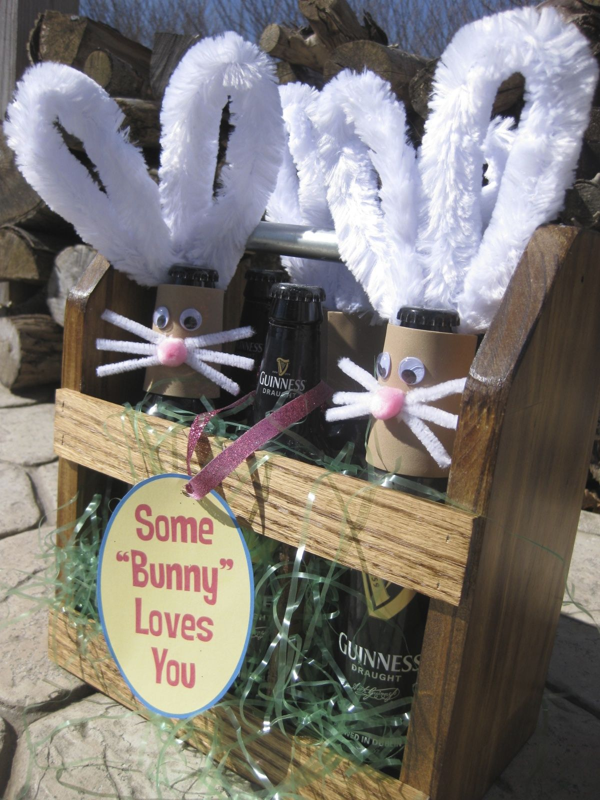 Adorable adult easter basket holiday gift ideas pinterest awesome diy spring hostess gift adorable adult easter basket bunny rabbit beer carrier at etsy or mini wine bottle carrier negle