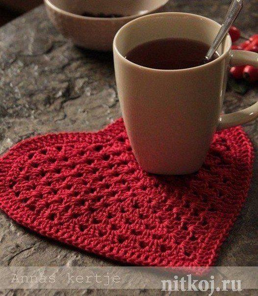 Free crochet pattern for ? Large Heart crochet coasters ...