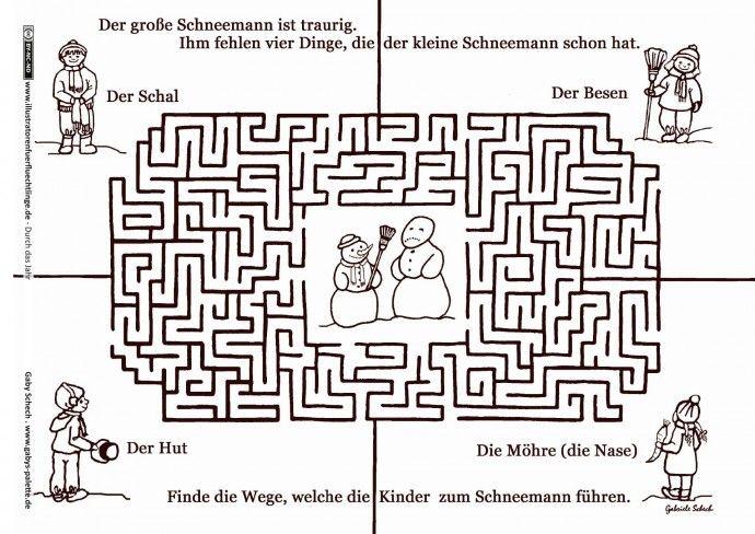 Durch das Jahr - Winter Schneemann Labyrinth - Schech | Drucker ...