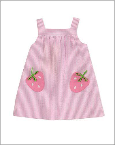 03d9cf0b8 Florence Eiseman Girls Pink Stripes Seersucker Strawberry Pocket Dress
