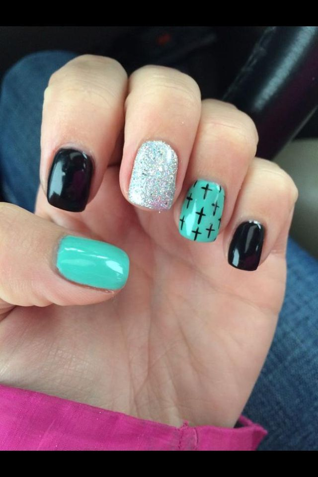 nice Gel nails with crosses... | Gel Nails Design | Pinterest | Fun ...