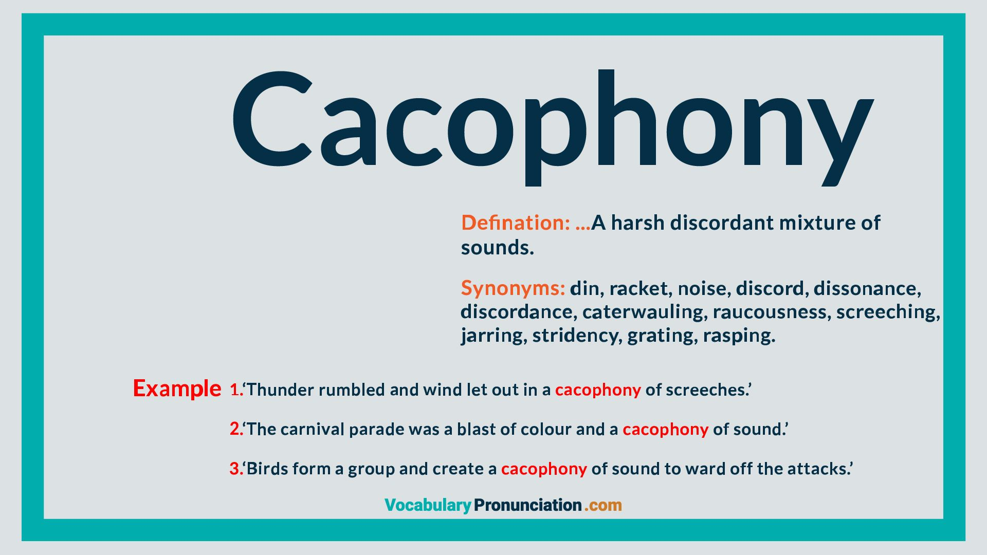 Cacophony How To Pronounce English Words Synonym