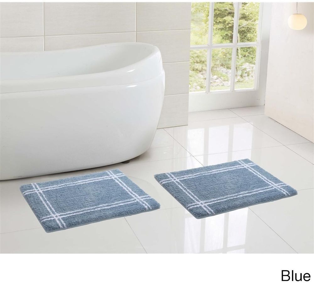 Microfiber Memory Foam Blue Bath Mat Rubber Backing 17 x 24 Inches ...