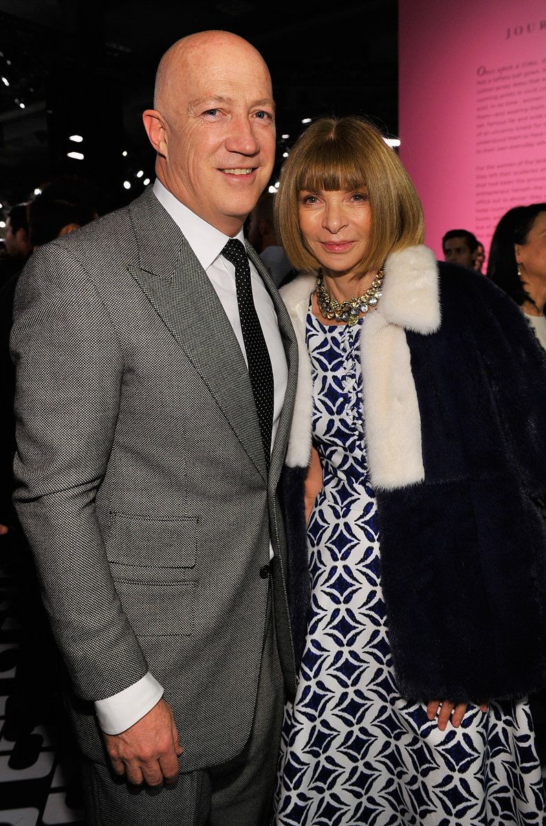 LOS ANGELES, CA - JANUARY 10:  CAA's Bryan Lourd and Editor-in-Chief of Vogue Magazine Anna Wintour, wearing Diane Von Furstenberg, attend Diane Von Furstenberg's Journey of A Dress Exhibition Opening Celebration at May Company Building at LACMA West on January 10, 2014 in Los Angeles, California.  (Photo by Donato Sardella/Getty Images for Diane Von Furstenberg)