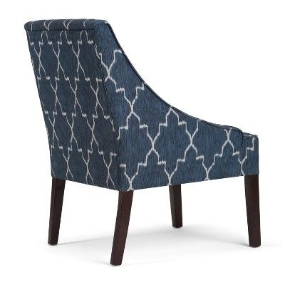 Best Lilith Accent Chair Cobalt Blue Moroccan Patterned Fabric 400 x 300