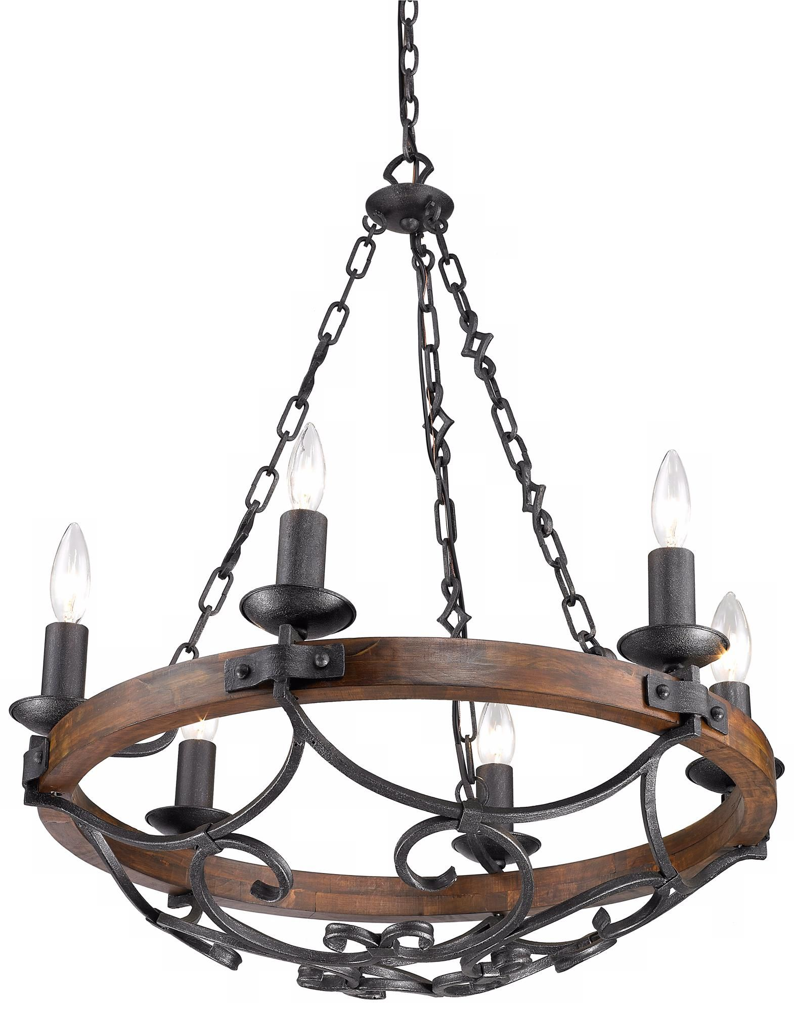 Madera 28 1 4 Wide Hand Forged Iron Wagon Wheel Chandelier