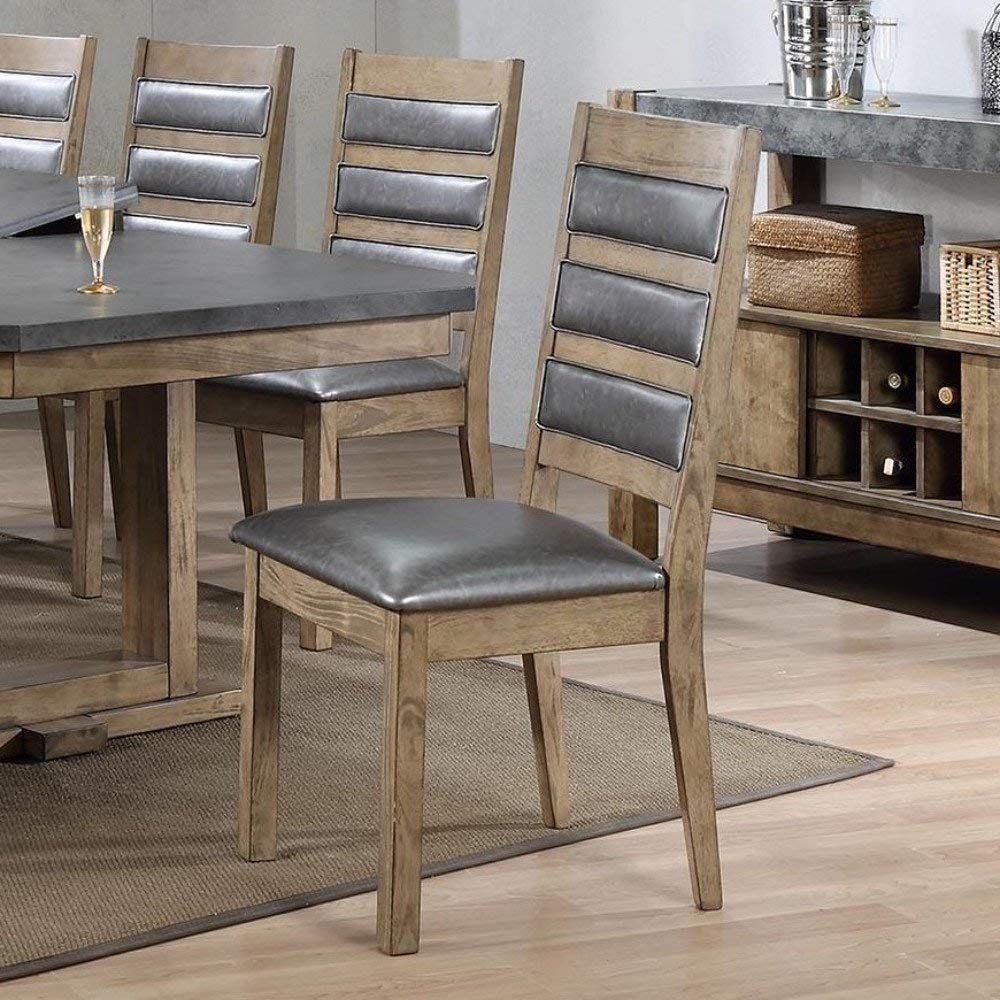 Set Of 4 Modern Grey Faux Leather Dining Chairs With Brown Rubber