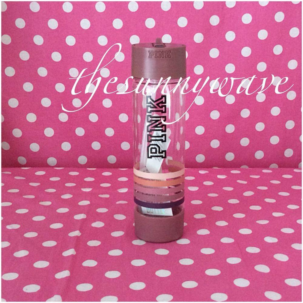 Victoria S Secret Pink Campus Water Bottle Pink Stripes