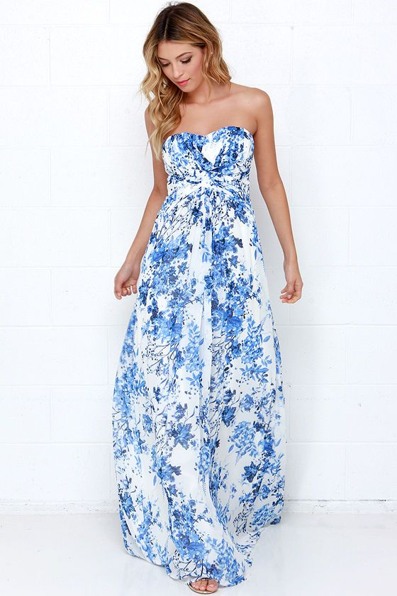 89c85e4443b Berry Botanical Ivory and Blue Floral Print Maxi Dress | My style ...