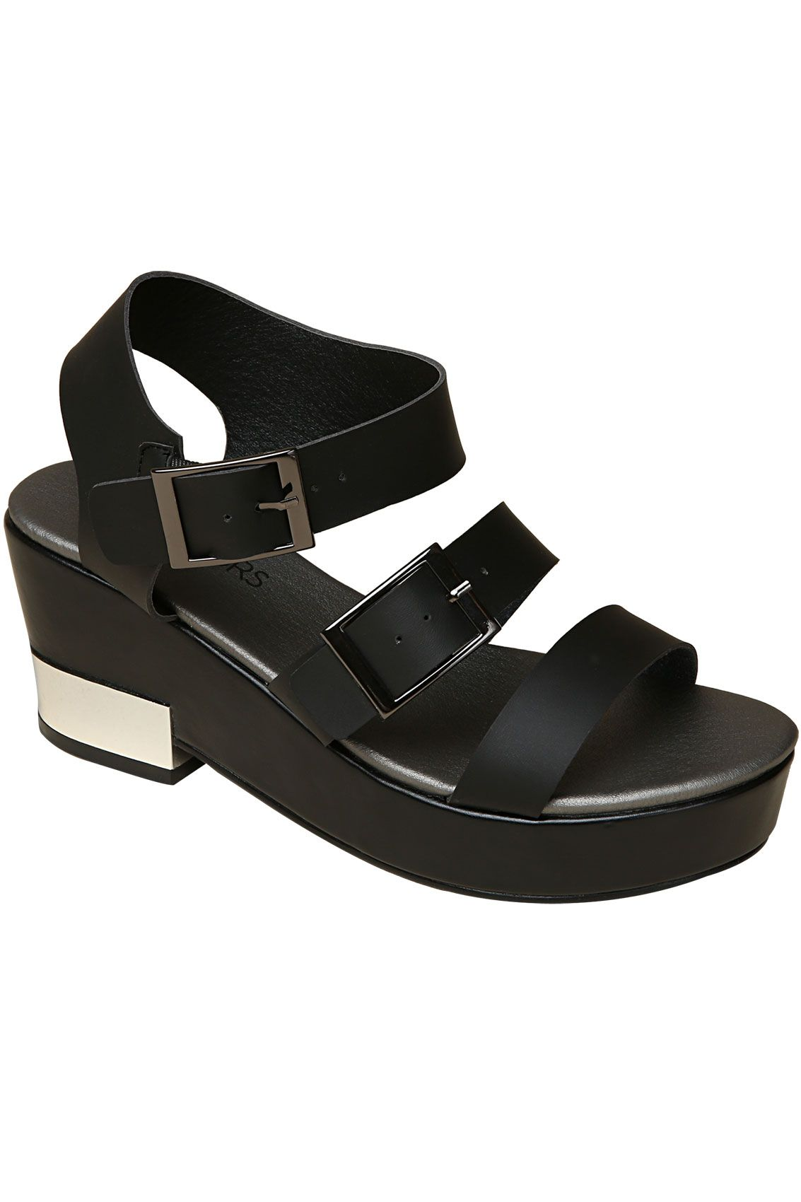 2520d4ec4715 Black Three Strap Platform Sandals With Silver Trim In EEE Fit 4EEE ...