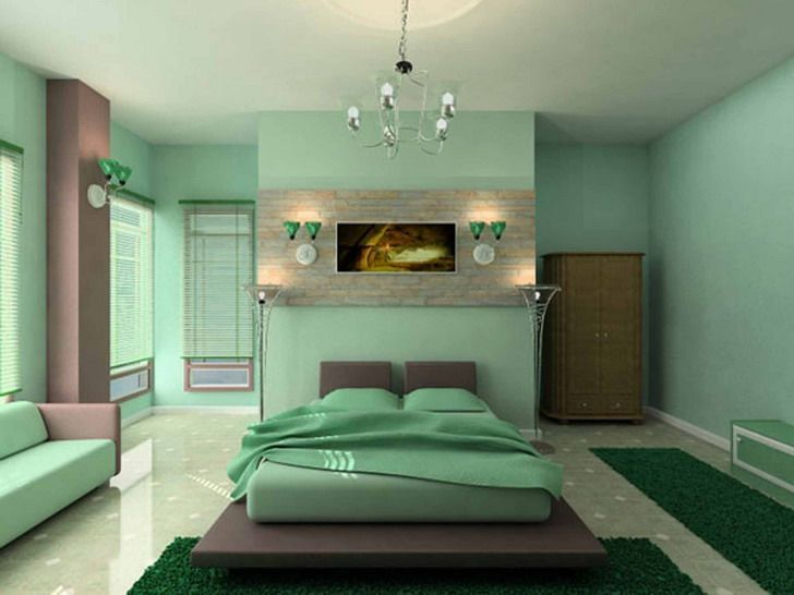 Relaxing Bedroom Color Ideas Part - 27: Bedroom Modern Cool Full Green Color Relaxing Small Bedroom Ideas With  Hanging Modern Pendant Lighting Appealing