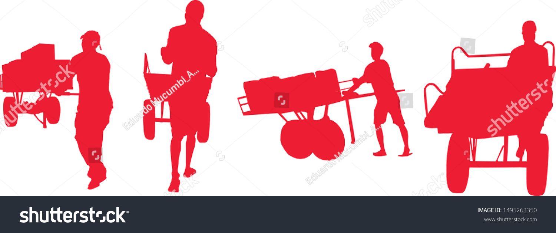 Group People Pushing Wheelbarrow Vector Illustration Stock Vector (Royalty Free) 1495263350