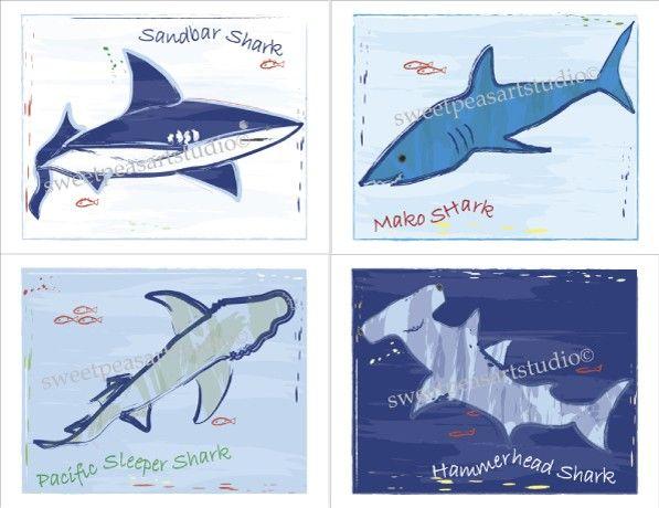 Shark Art Prints Sharks For Noodle Bathroom