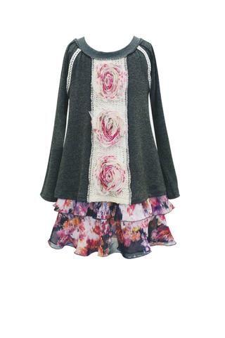 Layered Sweater Chiffon Slip Dress