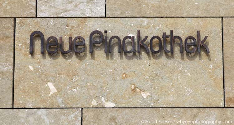 Sign for the Neue Pinakothek in Munich, Germany.
