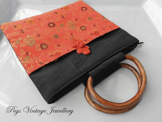 85b1137211b9 Vintage Red Satin Asian Bag, Oriental Red Satin Purse, Asian Satin ...