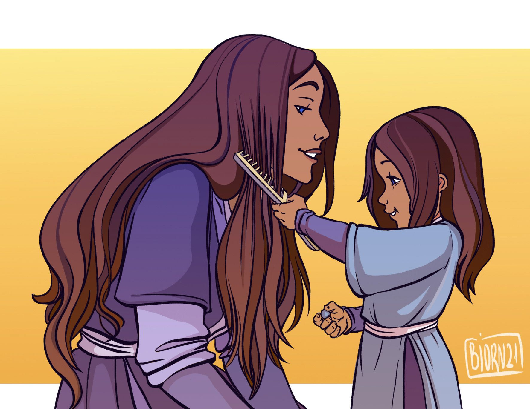 Little Katara With Her Mom And Their Daily Morning Ceremonies Avatar Aang Avatar Airbender The Last Avatar