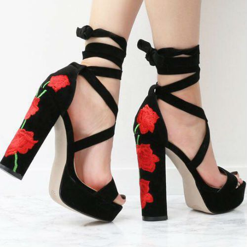 8a7c88182a82 Floral Embroidered Lace Up Chunky Heels