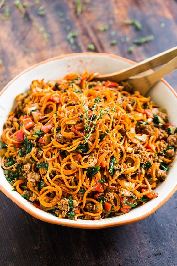 sweet potato noodles with chorizo, roasted red pepper, and
