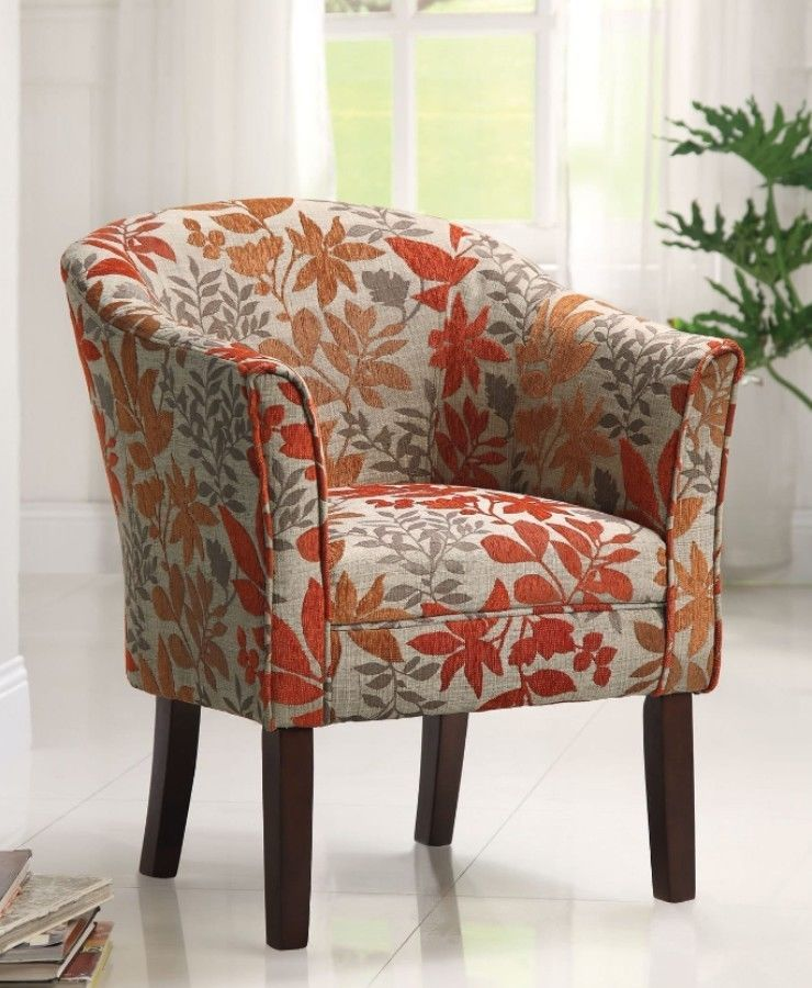 Orange And Grey Floral Accent Chair Barrel Back Contemporary Home Office New Accentchair Fabric Accent Chair Upholstered Accent Chairs Accent Chairs