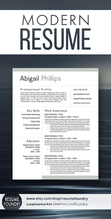 Modern Resume Template for use with Microsoft Word resume stuff - microsoft word professional letter template