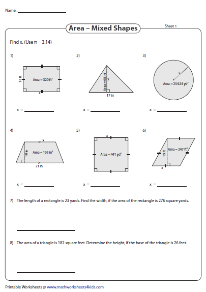 Find The Missing Dimensions Using Area Area Worksheets Shapes Worksheets Math Tricks
