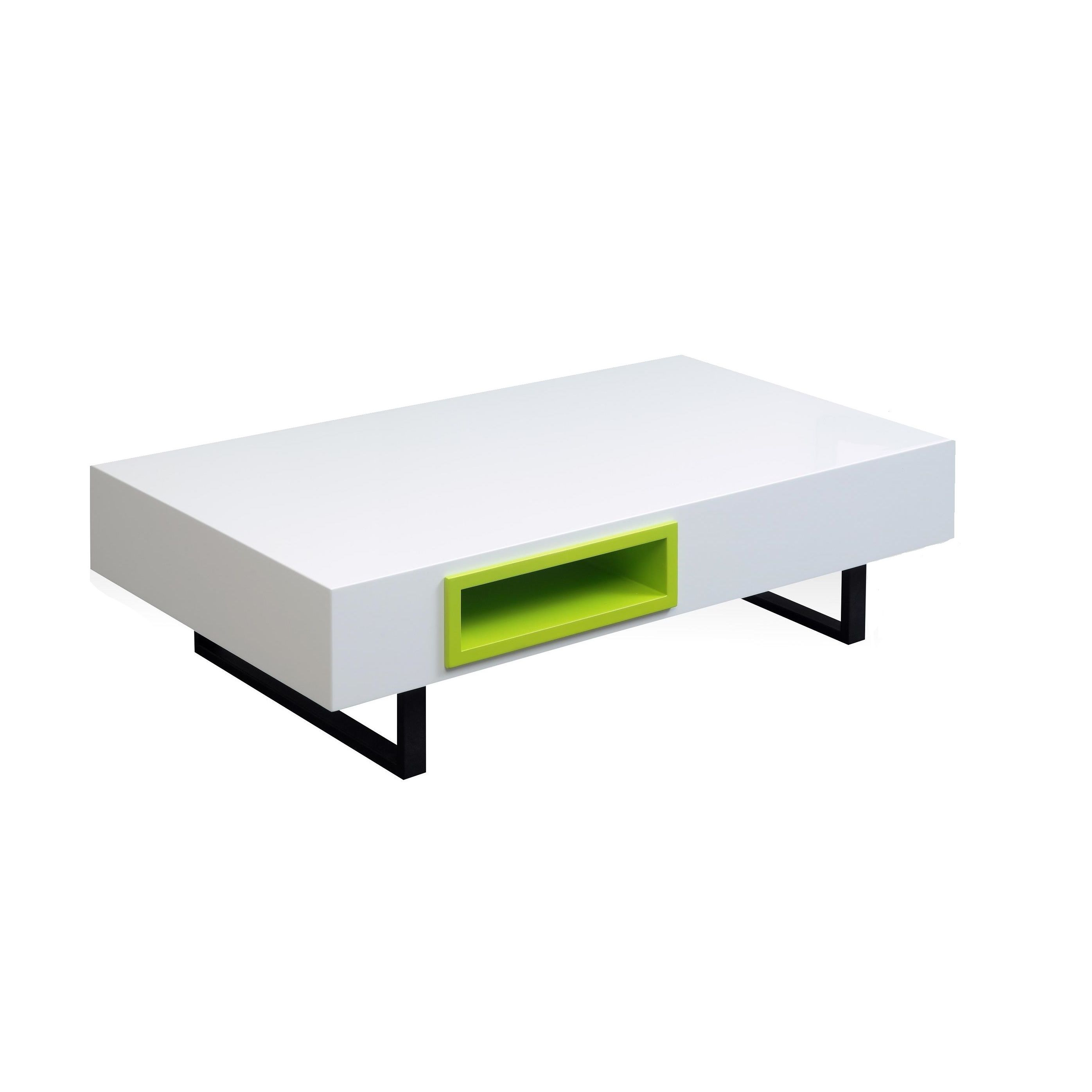 2 drawer Glossy White Coffee Table