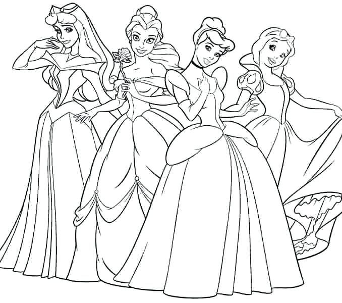Princess Disney Coloring Pages Princess Coloring Four Princess