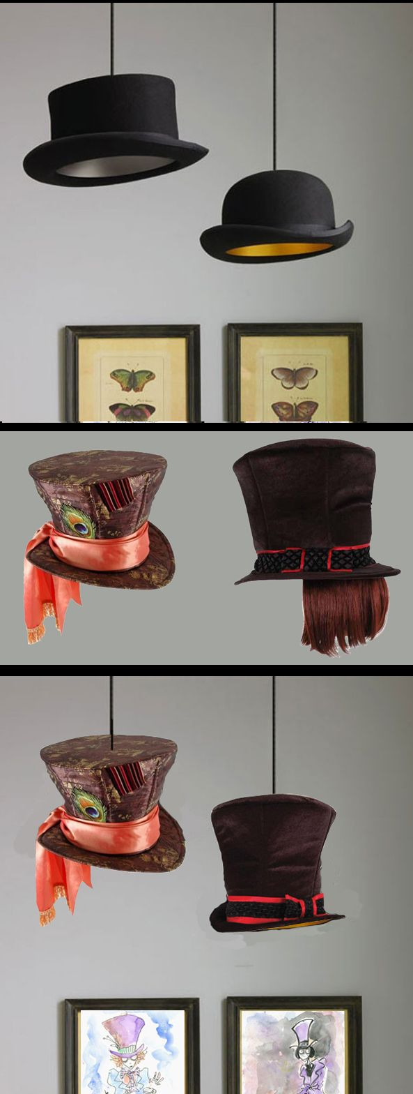 30 Creative Ways to Repurpose & Reuse Old Stuff by Bored Panda: BOWLERS INTO LAMPS -- substitute Tim Burton character hats!  The Mad Hatter hat is available at Target.com.