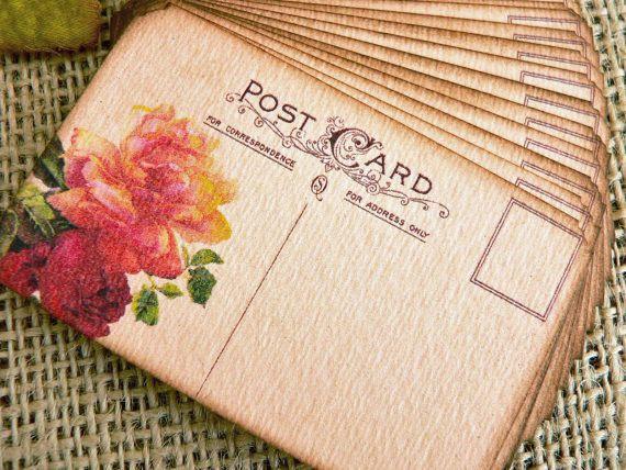 Having a destination wedding? Try these vintage postcard escort cards. #MarthaStewartWeddingsMagazine