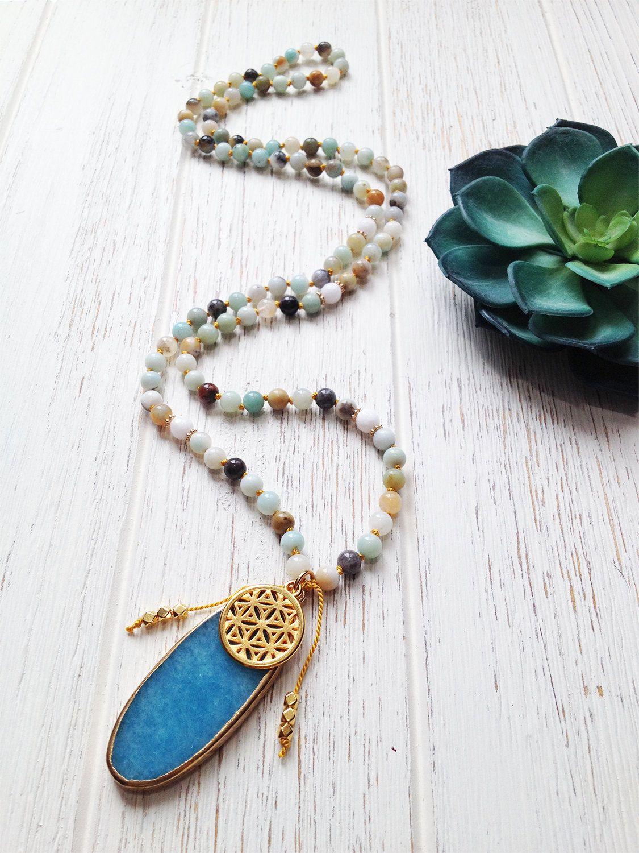 Life Abundance Mala Necklace Healing Prayer Beads Amazonite