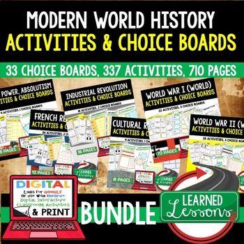 Photo of World War II (WWII) Activities, Choice Board, Print & Digital, Google