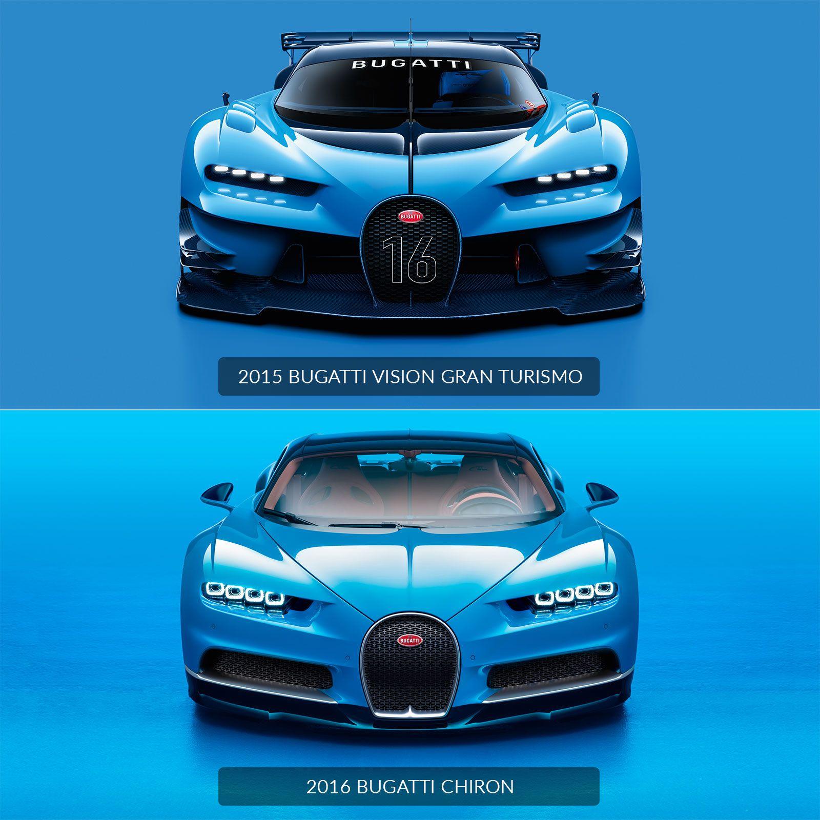 Bugatti Chiron Vs Vision Gran Turismo Design Comparison Bugatti Chiron Bugatti Best Luxury Cars