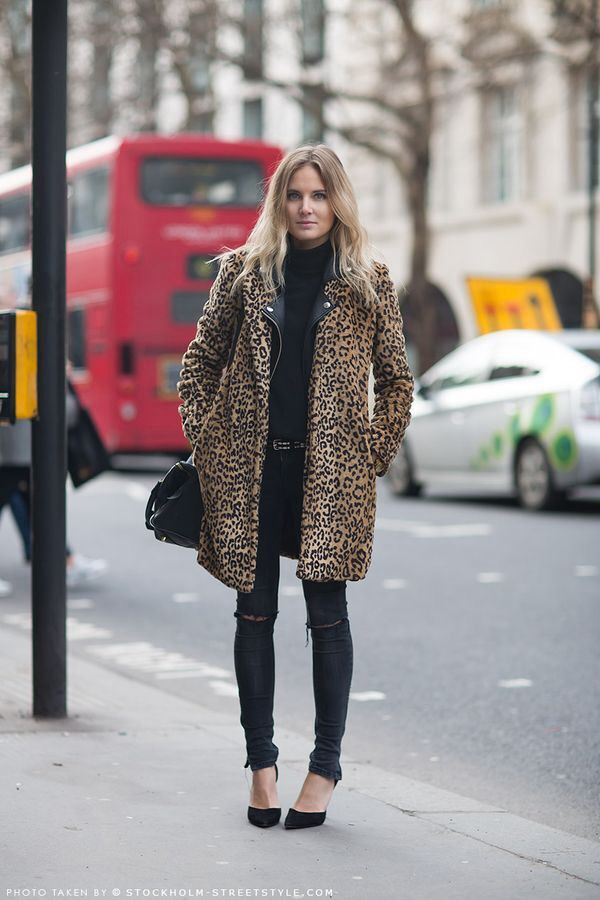 Look #fashion #rock #trends #leopard #skin #panther #coat