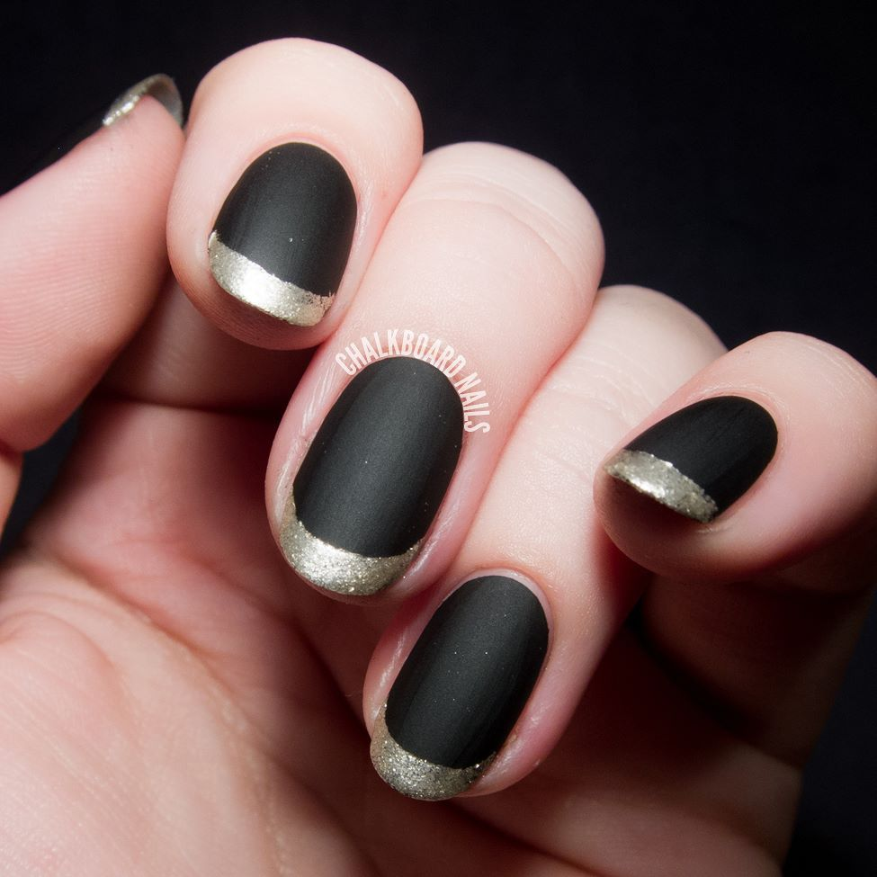 3 of 10 Cute #Frenchnails: Gold Tips On Black Matte Nails ...
