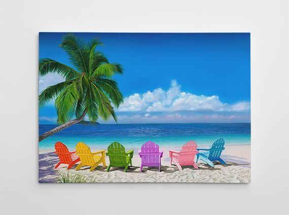 Beach Chairs Painting Canvas Beach Chairs Palm Tree Art