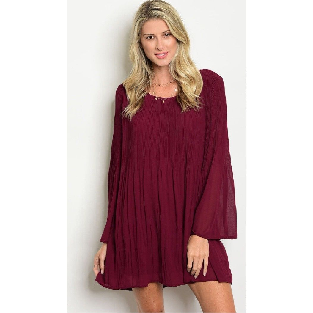 Boutique loveriche gorgeous fall wine dress bell sleeve pleated