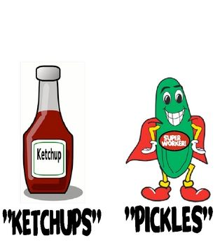 "pickles and ketchups--On Fridays,  place them on the board. Anyone who has turned in all of their assignments is a ""pickle"" so write their name under the pickle sign. Anyone who is missing an assignment has their name placed under the ketchup bottle. Pickles can ""pick"" a fun game or activity, while ""ketchups"" catch up on missing work. It is amazing how quickly assignments come in!"