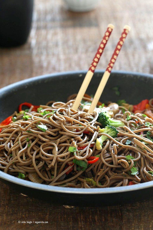 Vegan Vegetable Lo Mein With Soba Noodles Recipe Vegan Lo Mein Soba Noodles Gluten Free Noodles