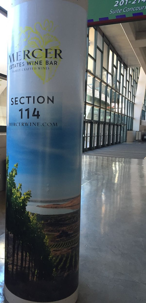 The Mercer Estates Wine Bar operates just off the concourse at Section 114 at KeyArena in Seattle.