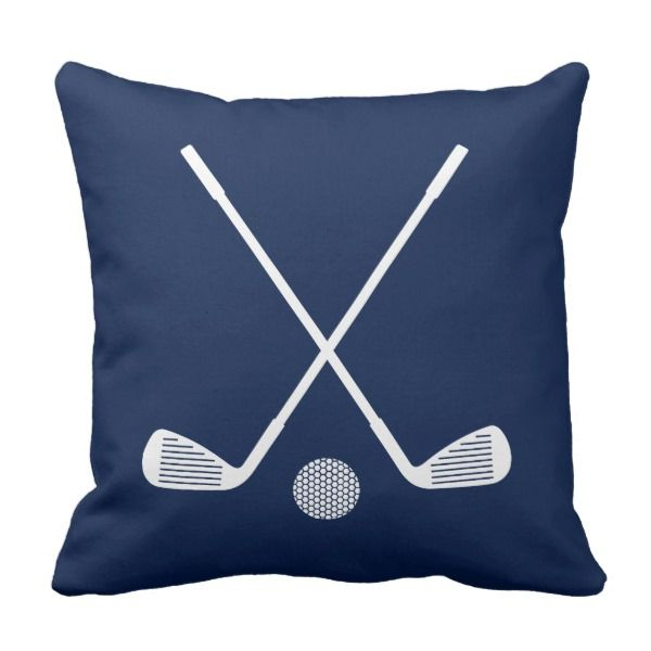 Golf Club And Ball Sports Throw Pillow In Navy Blue And