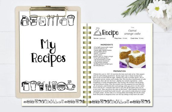 Black And White Recipe Book Template Editable Pages Doc Cookbook Editab