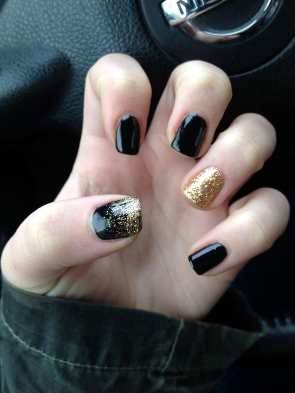 55 Easy New Years Eve Nails Designs and Ideas 2018 | Black gold ...