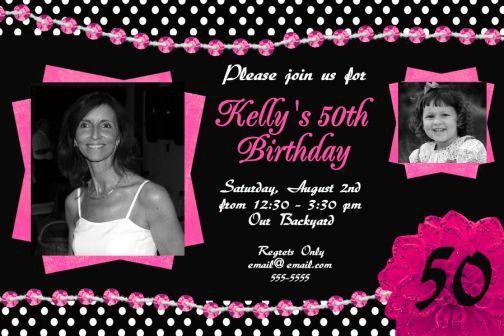 black white hot pink 50th birthday invitation polka dots bling, Birthday invitations