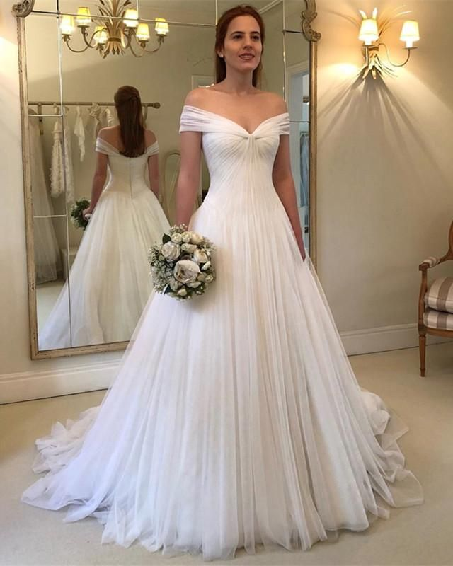 Elegant Pleated Tulle V Neck Off Shoulder Princess Wedding Dresses White Bridal Gown Off Shoulder Wedding Dress Off Shoulder Wedding Dress Simple