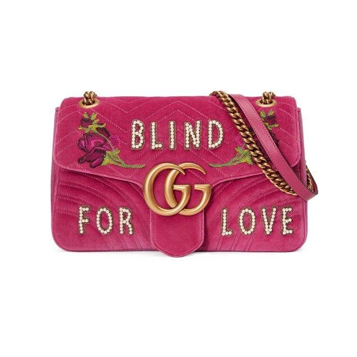b8070dfccec Gucci GG Marmont Medium Embroidered Velvet Blind for Love Shoulder ...