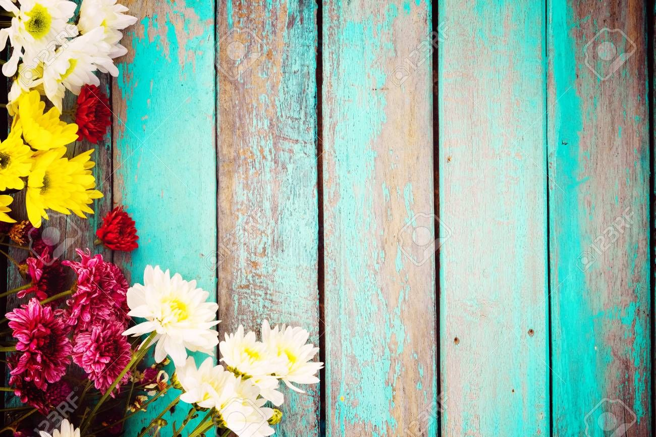 Colorful Flowers Bouquet On Vintage Wooden Background Border Summer Facebook Cover Photos Colorful Flowers Background