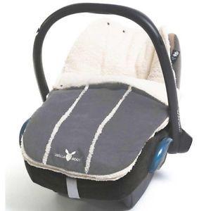 Wallaboo Newborn Baby Car Seat Footmuff GREY Faux Suede/Sheepskin fits Maxi Cosi