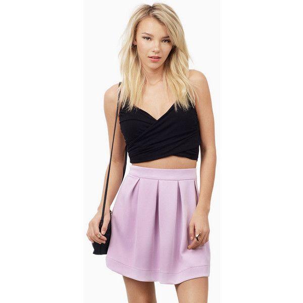 Tobi Evelyn Scuba Skirt ($28) ❤ liked on Polyvore featuring skirts, lavender, lavender skirt, light purple skirt, lavender skater skirt, pink skirt and pink skater skirt