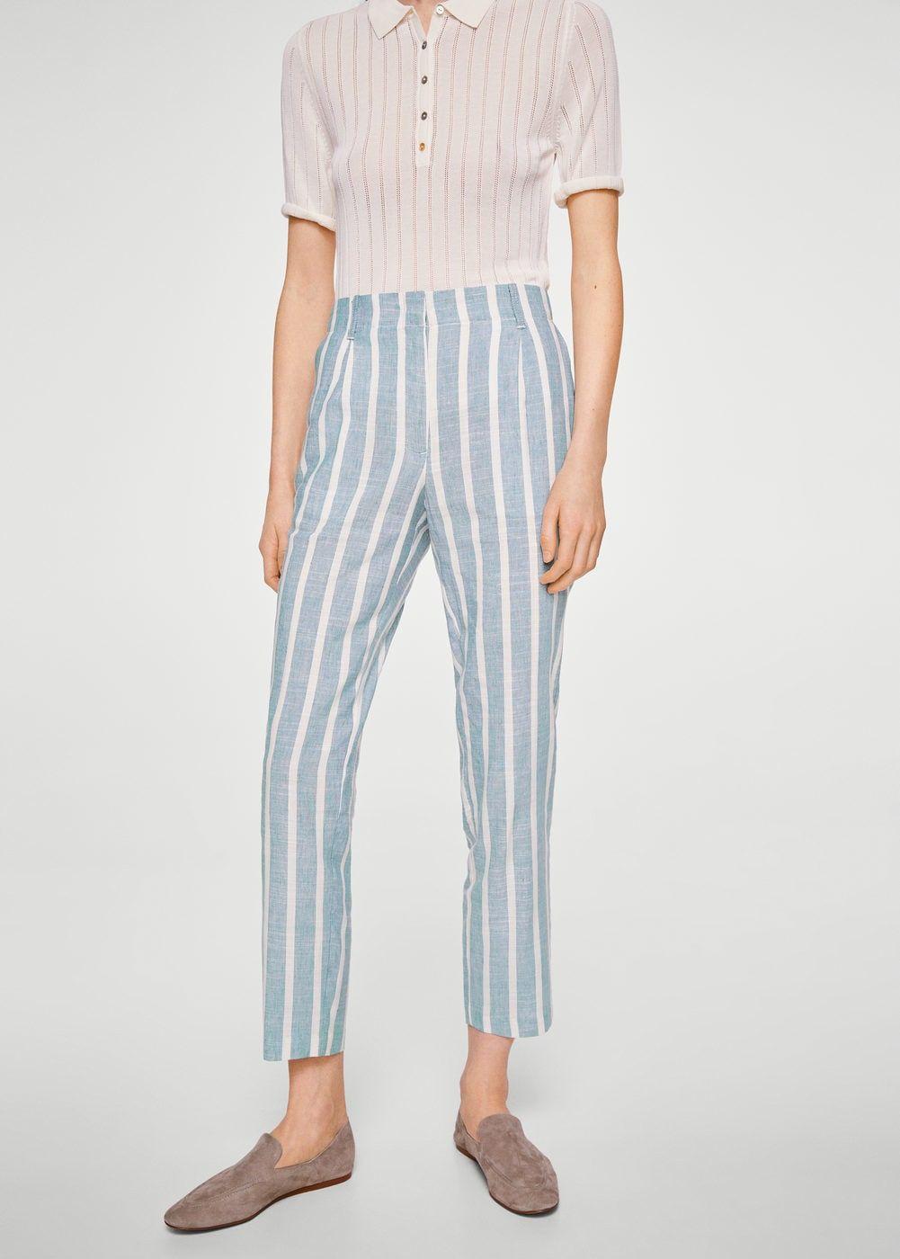 Pantalón lino rayas Mujer | Pantalones de mezclilla mujer